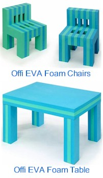 Offi EVA Foam Table and Chairs in Blue and Green