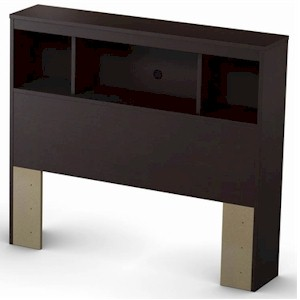 SouthShore Cakao Twin Bookcase Headboard in Chocolate