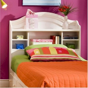 SouthShore Summer Breeze Twin Bookcase Headboard Vanilla Cream