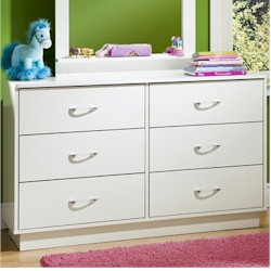 SouthShore Logik 6 Drawer Dresser in White