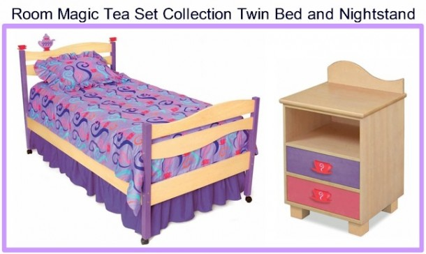 Room Magic Little Girls Tea Set Twin Bed and Nightstand